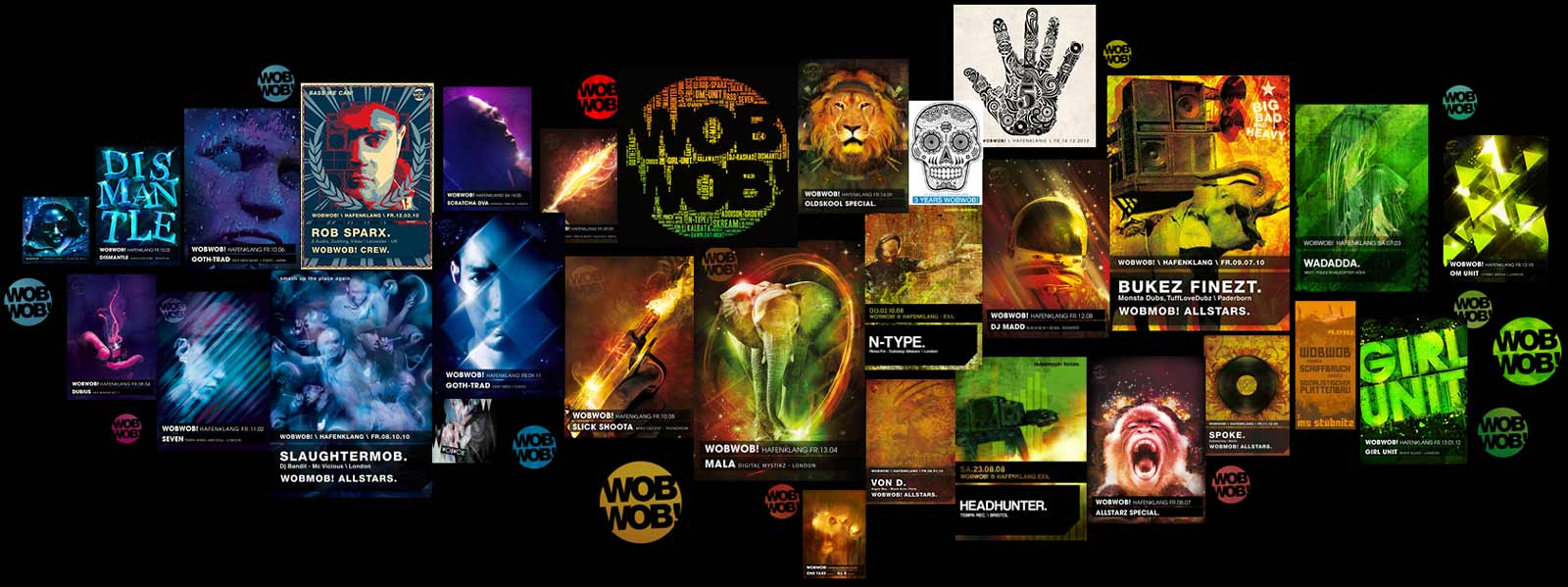 wobwob dubstep/bass flyer 2007 - 2015